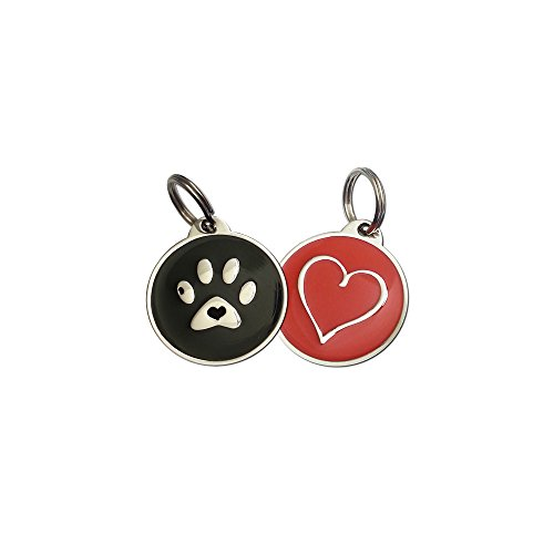 PetDwelling Black Red (2 Tags) QR Code Pet ID Tag Links to Online Profile with Emergency Contact/Medical Info