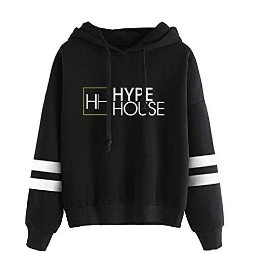 Logo Sweat à Capuche à Manches Longues pour Hommes The Hype House Pullover décontracté imprimé by WYHQL (Color : Black, Size : XXS)