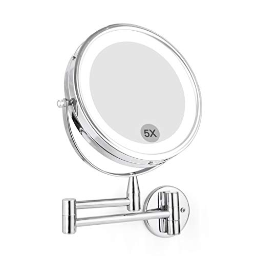 """FIRMLOC Wall Mounted LED Magnifying Mirror 5X Makeup 8"""" Lighted Double Side 360 Degree Vanity Magnification Swivel Extendable Mirror"""