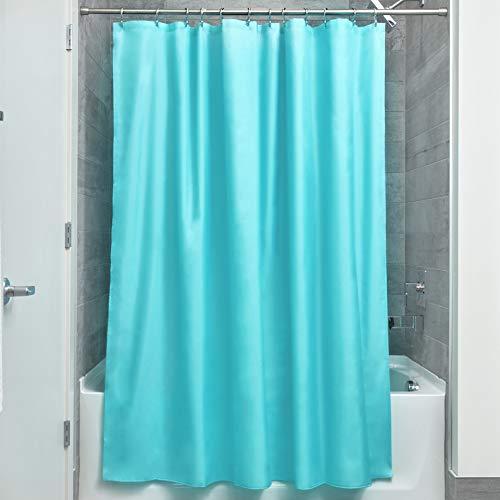 iDesign Duschvorhang aus Stoff   wasserdichter Duschvorhang mit verstärktem Saum   waschbarer Textil Duschvorhang in der Größe 183,0 cm x 183,0 cm   Polyester aquablau