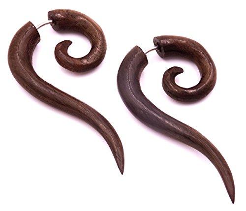 Pendientes falsos dilatadores de madera étnica, con forma de zócalo de Wooden Fake Wood en espiral