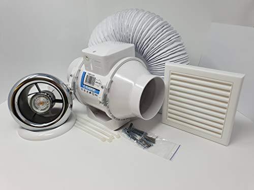 Full Shower Fan Light Kit - 100mm LED Light Chrome & White Bezel for Steam Moist Damp Condensation...