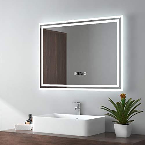 EMKE LED Badspiegel 90x70cm Badezimmerspiegel mit Beleuchtung kaltweiß Lichtspiegel Wandspiegel mit Touchschalter + beschlagfrei + Uhr IP44 energiesparend