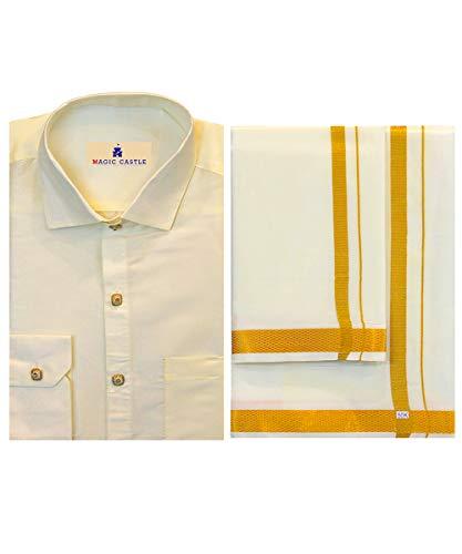My Fair Lady Chemise Pattu Homme + Dhoti (Veshti) Combo Pack Offre. Lot de 1 chemise en pure soie + 1 Art Silk Dhoti/Veshti pour homme. - - 38 cm