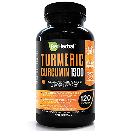 BE HERBAL Organic Turmeric Curcumin 1500mg with Black Pepper & Ginger - The Most Potent Certified Organic Turmeric Curcumin Supplement with 95% Curcuminoids - 120 Veg Capsules (120)