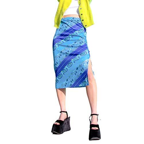 Falda midi de cintura alta Bohemia Y2K Vintage E-Girl Slim Fit A-Line Floral Impreso Patchwork Gothic Skirt