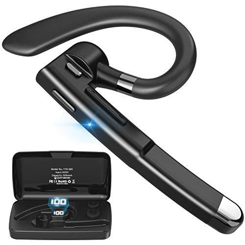 [令和2021年進化版]Bluetoothヘッドセット Bluetoothイヤホン ワイヤレスイヤホン Bluetooth5.1 10時間連続使用 マイク内蔵 ハンズフリー通話 ミュート機能 耳掛け型 快適装着 片耳 ビジネス ブルートゥースヘッドセット 左右耳兼用 500mAh充電ケース付き Type-C充電 高音質 CVC8.0 ノイズキャンセリング オンライン英会話/ビジネスチャット/仕事/在宅勤務/テレワーク/車用/ウォーキング/通学 マイクブーム180°回転 二台接続可能 Siri対応 日本語ガイダンス (black)