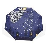 LASINSU Paraguas Resistente a la Intemperie,protección UV,Noche Niñas Niños Hada de Dibujos Animados en el Cielo Casting Magia sobre Casas Corazones Estrellas Azul Caléndula Blanco