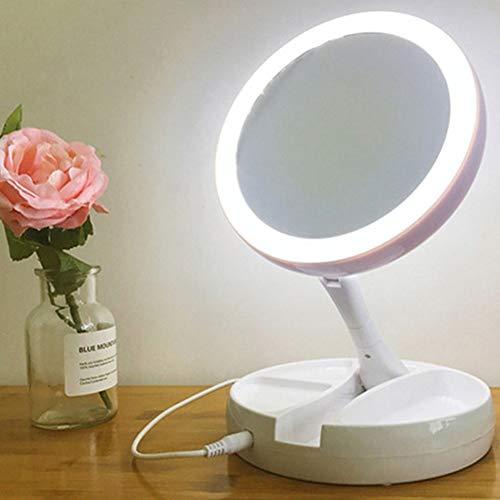 JiMany Nouveau Miroir de Maquillage à LED - Lampe de Coiffeuse Double Face à Rotation 360 rotative, beauté