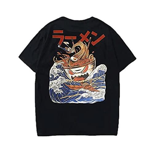 Japonesa Anime Mangas Cortas Camiseta,Creative Ramen Monster Print Comics Dibujos Animados Casual Suelto Camiseta de Manga Corta-Negro_Metro