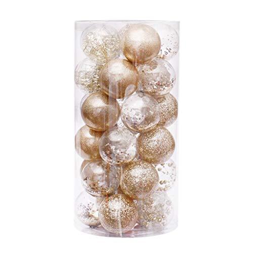 Fowoukior 30PCS Christmas Tree Balls Ornaments Xmas Balls Decorations Baubles Party Wedding Ornament Clear Balls Xmas Gift Gold