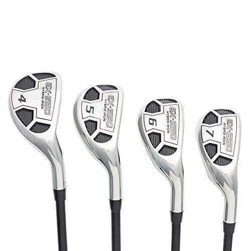 "Men's Powerbilt Golf EX-550 Hybrid Iron Set, which Includes: #4, 5, 6, 7 Senior Flex Right Handed Utility ""A"" Flex Club"