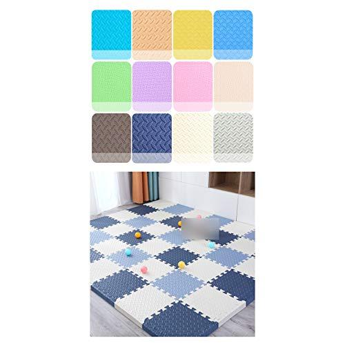 LXZFJW Azulejos de enclavamiento espuma EVA espuma azulejos de enclavamiento espuma protectora esteras de espuma suave rompecabezas estera-azul+blanco+gris azul 60×60×2.5cm 9pcs