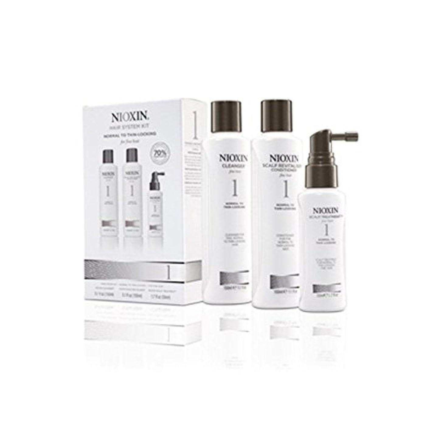 推進、動かす植物のベール細かい自然な髪への通常のためニオキシンヘアシステムキット1(3製品) x4 - Nioxin Hair System Kit 1 For Normal To Fine Natural Hair (3 Products) (Pack of 4) [並行輸入品]
