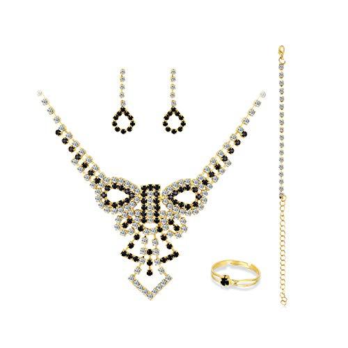 Ruby569y Pendientes colgantes para mujeres y niñas, collar con diamantes de imitación y pulsera, anillo de boda, fiesta, banquetes