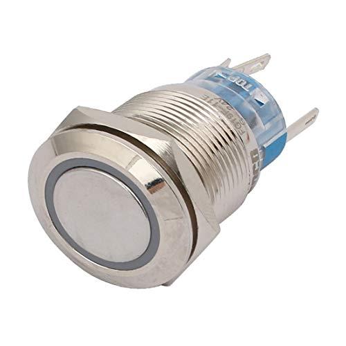 New Lon0167 DC 24V Destacados 19mm Rosca 5 eficacia confiable Terminal LED verde Lámpara Interruptor de botón pulsador de luz momentánea(id:558 d6 34 79f)