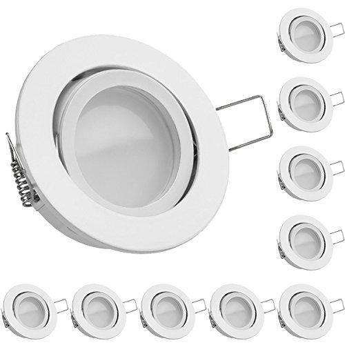 Preisvergleich Produktbild 10er LED Einbaustrahler Set Weiß mit LED GU10 Markenstrahler von LEDANDO - 5W DIMMBAR - warmweiss - 110° Abstrahlwinkel - schwenkbar - 35W Ersatz - A+ - LED Spot 5 Watt - Einbauleuchte LED rund