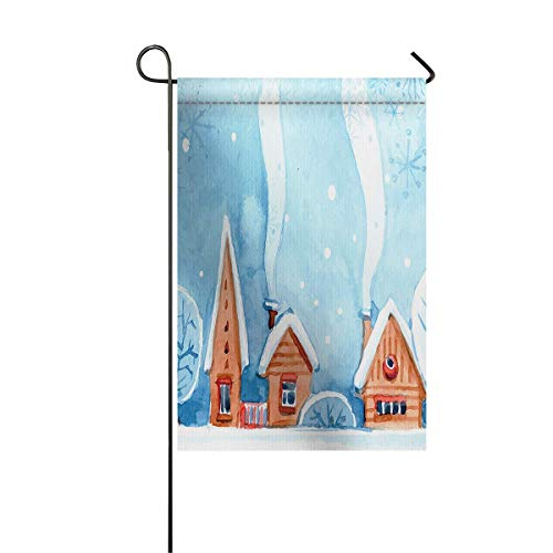Gartenfahne Haus Banner dekorative Flagge Home Outdoor Valentinstag, Aquarell Dach bedeckt von weißem Schnee mit rauchendem Schornstein Willkommen Holiday Yard Flagge 12 x 18 Zoll
