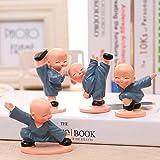NanXi 4Pcs / Set Shaolin Monk Linda Figura Kung Fu Muñeca De Juguete, Viajar con Seguridad Resina Creativa Craft Accesorios, Conveniente para El Hogar Creativo