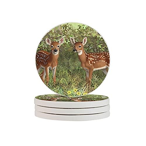 Whitetail-Deer-Twin-Fawns-Crista-Forest - Posavasos redondos para bebidas (taza absorbente, taza de té, taza de café, regalo