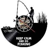WZCXYX Reloj de pared con texto en inglés 'Keep Calm and Go Fishing Fisherman Funny Cote Fishing Clock de pared junto al río Vinilo Record' Reloj de pared para amantes de la pesca