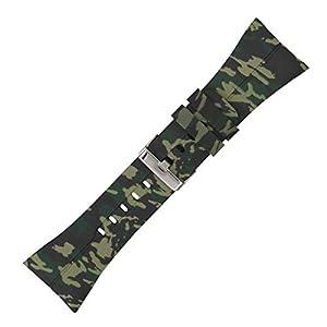 kwmobile Pulsera Compatible con Polar M400 / M430 - Brazalete de Silicona y TPU Camouflage Negro/Verde Claro/Verde Oscuro