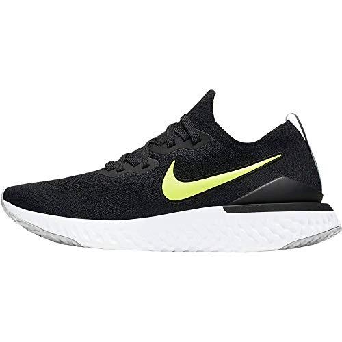 Nike Epic React Flyknit 2, Zapatillas de Atletismo Hombre, Multicolor (Black/Volt/Wolf Grey/White 000), 45 EU