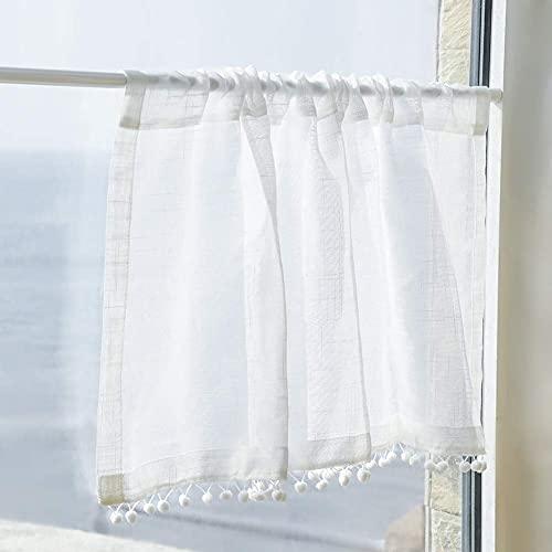 PFLife Bistrogardine Landhausstil Leinen Kurzgardine mit Zierkugeln Gardine Vorhang für Küchen Balkon(Weiss, H/B: 45 x 106 cm)