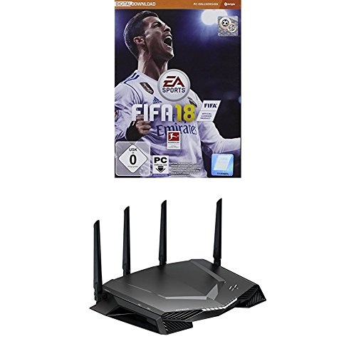 FIFA 18 - Standard Edition - [PC] - (Code in a Box) + Netgear Nighthawk XR500-100EUS AC2600 Dual-Band Pro Gaming WLAN Router (Quad Stream, Gaming Dashboard, Geo Filter, QoS,) schwarz