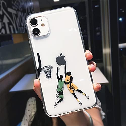 Divertida Caricatura de Baloncesto Slam Dunk Clear Phone Case para iPhone 12 Pro MAX Mini 11 XS X XR 7 8 Plus Boy Funda Transparente Suave para iPhone XS Dos Personas