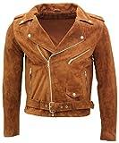 Infinity Leather Chaqueta Motorista de Piel de Ante Marrón Broncearse Clásica para Hombre de Brando L