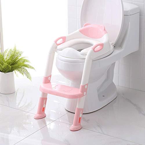 Kindertoilettadder Grote kindertoiletbril Babykamer Pot Ladder Opvouwbaar Toilet Babykinderstoel met antislip-ladder, Brede treden en handgrepen - Stevig, Comfortabel, Veilig Bed