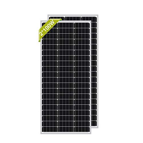 Newpowa® 100 W(Watt) 12V(Volt) Monokristallin Solarpanel 2 Stücke Hohe Effizienz Photovoltaik Mono Solarzelle für Wohnmobil Gartenhäuse Boot