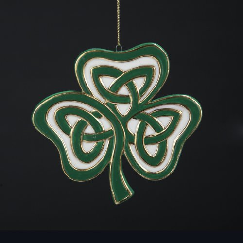 Kurt Adler 4' Luck of The Irish Porcelain Celtic Knot Designed Three Leaf Clover Christmas Ornament