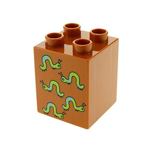 1 x Lego Duplo Basic Bau Stein dunkel orange braun 2 x 2 x 2 hoch bedruckt mit 5 Raupen Würmer für Set Zahlen Lernspiel 5497 31110pb035