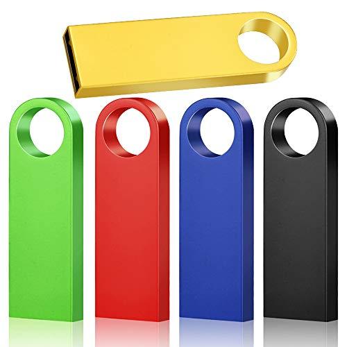 Memoria USB, 5 x 16 GB Pen Thumb Flash drives Memoria Jump Drive Memoria externa con diseño de llavero (multicolor)