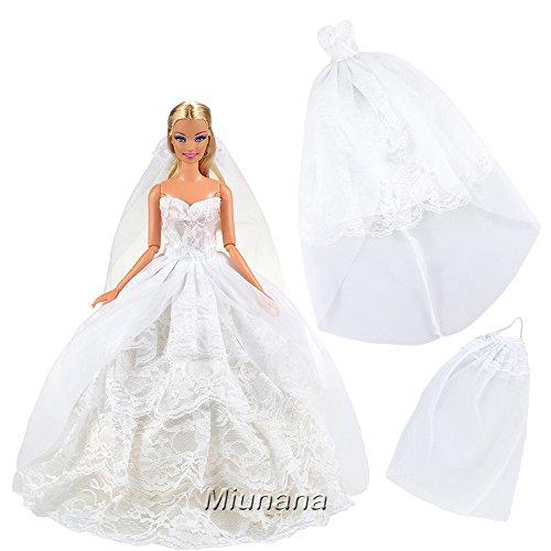 barbie sposa Miunana Sera Principessa Vestito Abito da Sposa Senza Spallini con Velo per 11.5 Pollici/ 28 - 30 CM Bambola