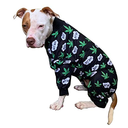 Tooth and Honey Pitbull Pajamas/Lightweight Pullover Pajamas/Full Coverage Dog pjs/Dog Onesie Jumpsuit/Green Pot Leaf Print Clothes Medium Large