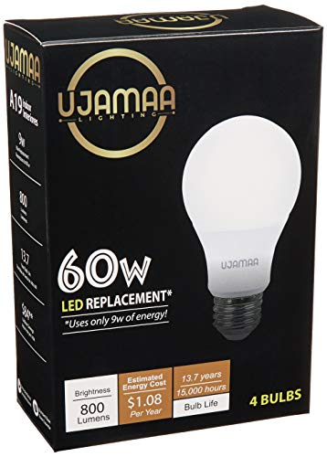 Ujamaa Lighting A19 LED, 9w (60w Equivalent), Non-Dimmable, Soft-White, Light Bulb (4-Pack)