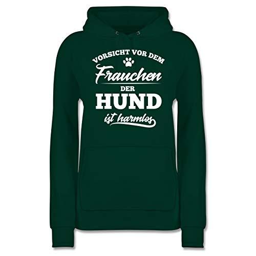 Hunde - Vorsicht vor dem Frauchen der Hund ist harmlos - XL - Dunkelgrün - Hoodie Damen lustig - JH001F - Damen Hoodie und Kapuzenpullover für Frauen