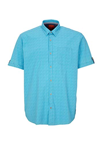 s.Oliver Big Size Herren Regular Fit: Hemd mit Minimalmuster Aqua AOP 4XL