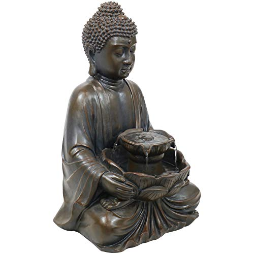 Sunnydaze Peaceful Buddha Indoor or Outdoor Garden Water Fountain with Electric Submersible Pump - Polyresin Design - Patio, Lawn and Landscape Decoration - 18-Inch