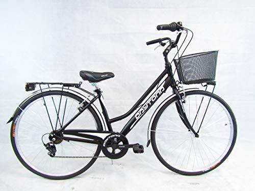 bicicletta donna bici da passeggio 28 city bike trekking telaio in alluminio (nero)