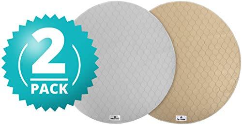 Pet Parents Runde Welpen-Pads (91,4 cm), waschbar, wasserdicht, wiederverwendbar, 1 hellbraun und 1 grau