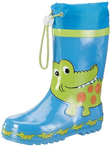 Playshoes Kinder Gummistiefel aus Naturkautschuk, trendige Unisex Regenstiefel mit Reflektoren, mit Krokodil-Motiv, Blau (original), 22/23 EU