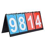DEWIN Baloncesto Marcador-Tabla portátil Flip Sports Marcador de puntaje para Baloncesto de Tenis de Mesa (4 dígitos-Rojo + Azul)