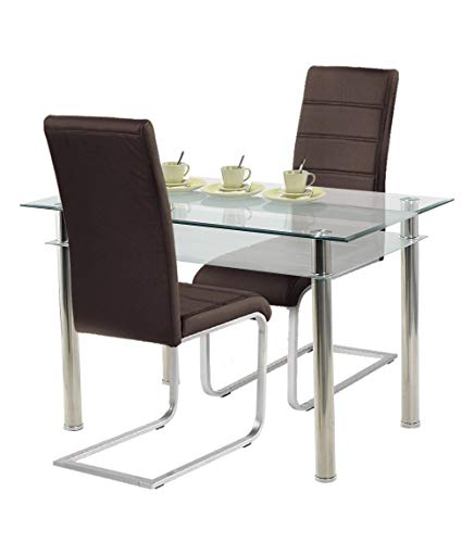 agionda ® Esstisch Kay Jake 120 x 70 mit Stuhlset Jan Piet ® 2er Satz hochwertiges PU Kunstleder in braun