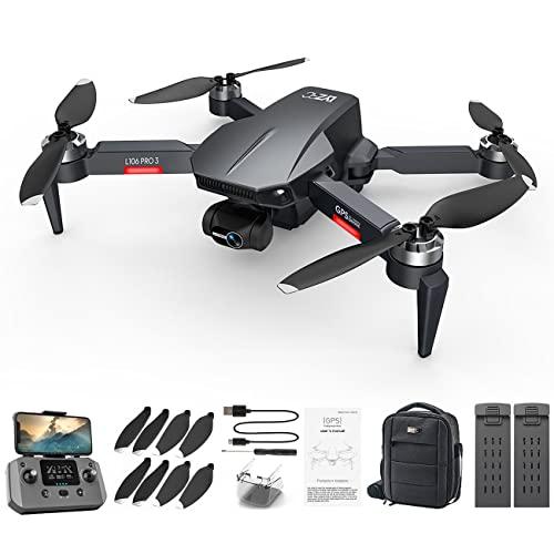 Uniqueheart Drone L106PRO3 Aereo Senza spazzole 4k HD Aereo a Quattro Assi Meccanico elettronico Anti-Vibrazione Gimbal a Tre Assi - Doppia Batteria Nera