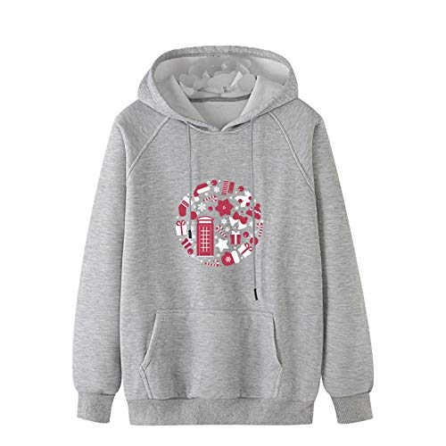 YZANYFQH Fall/Winter Men's Casual Snowflake Print Sweater Plus Size Hooded Sweater Sweatshirt Grey