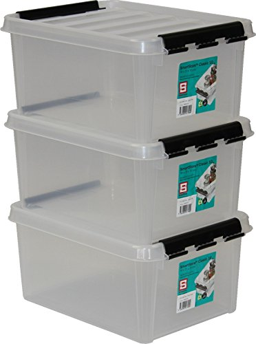 Orthex 34820703 3er-Set Clipbox Smart Store Classic 10, 8 Liter, transparent